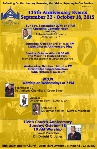 135th Anniversary Events at Fifth Street Baptist