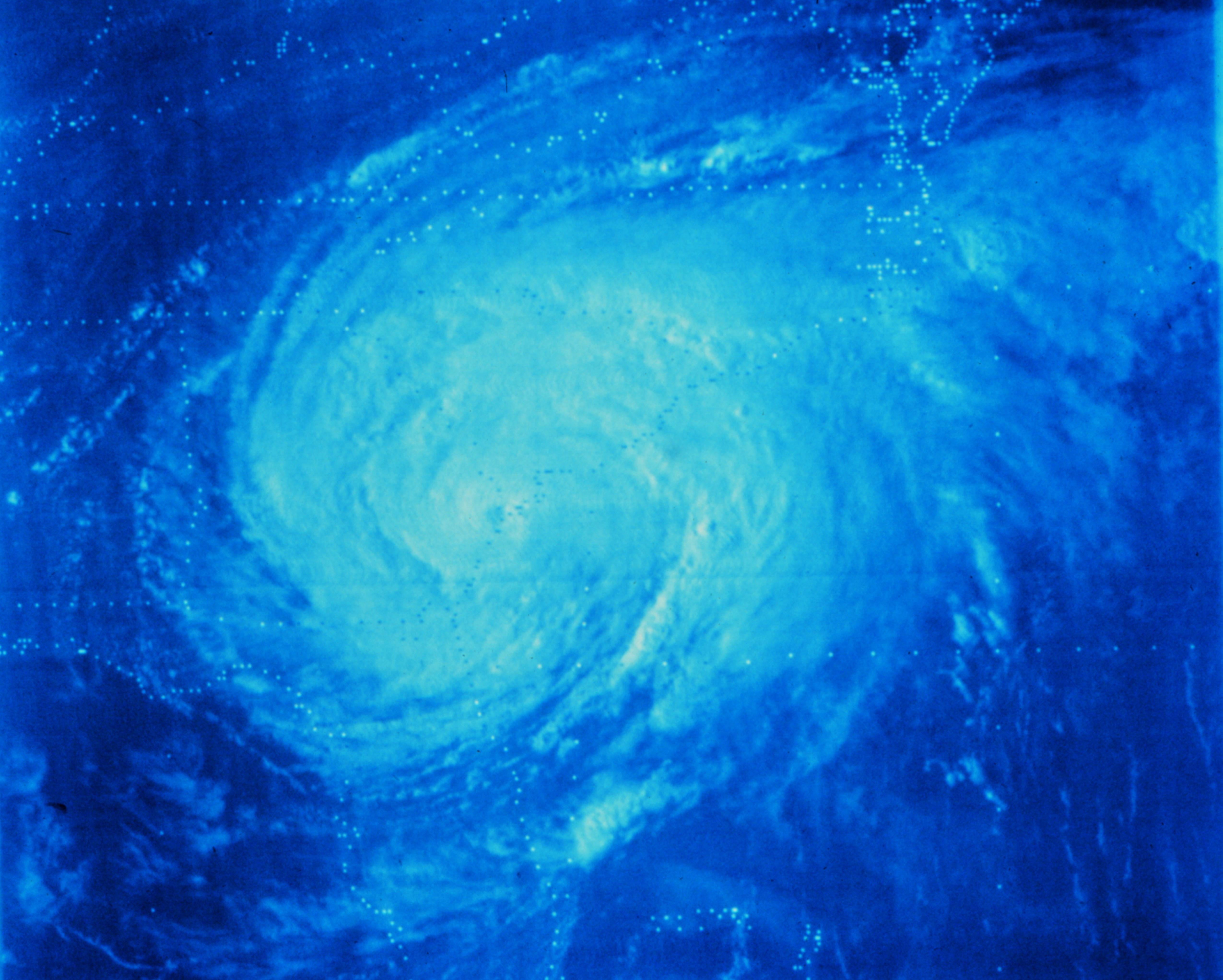 Photograph of Hurricane David making landfall on the Georgia Coast