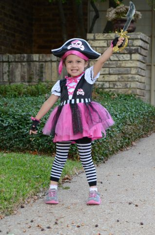 Young girl dressed up for Halloween.