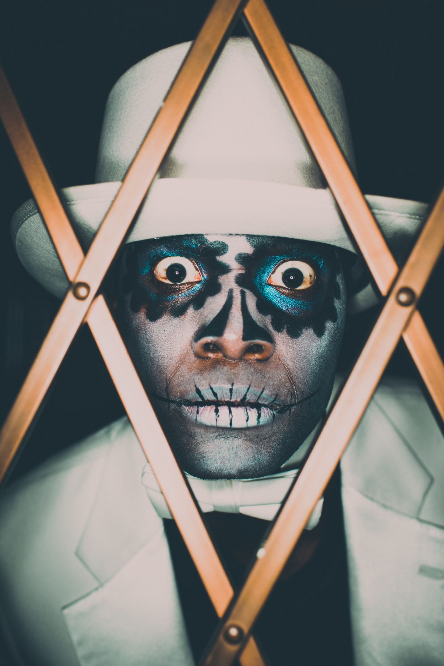 Voodoo Sugar Skull Spooky Man Portrait