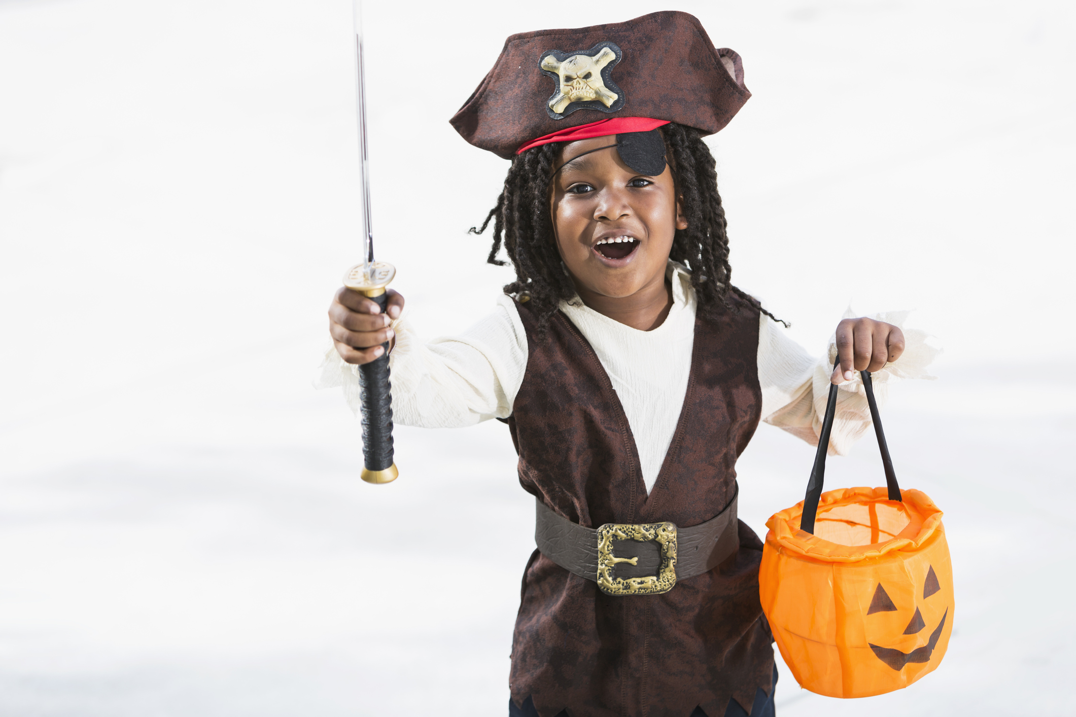Excited little boy in halloween costume