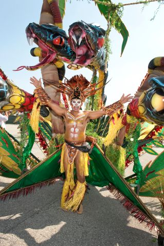 Man in costume for the Caribana Festival Parade, Toronto, Ontario