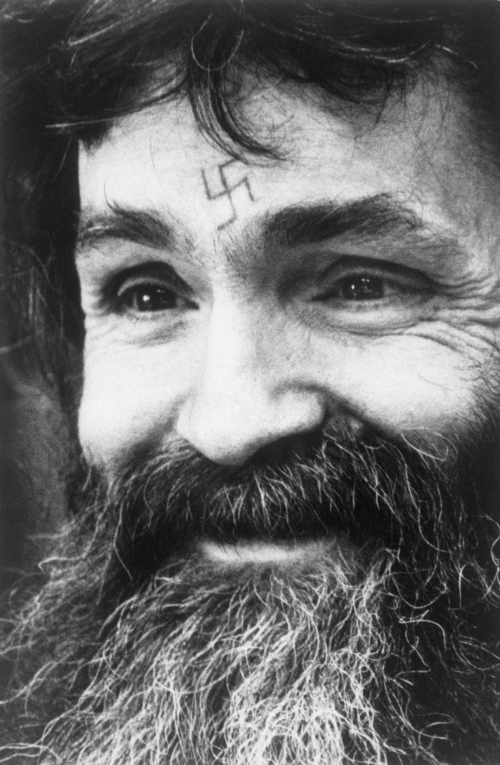 Charles Manson with Swastika Tattoo on Forehead