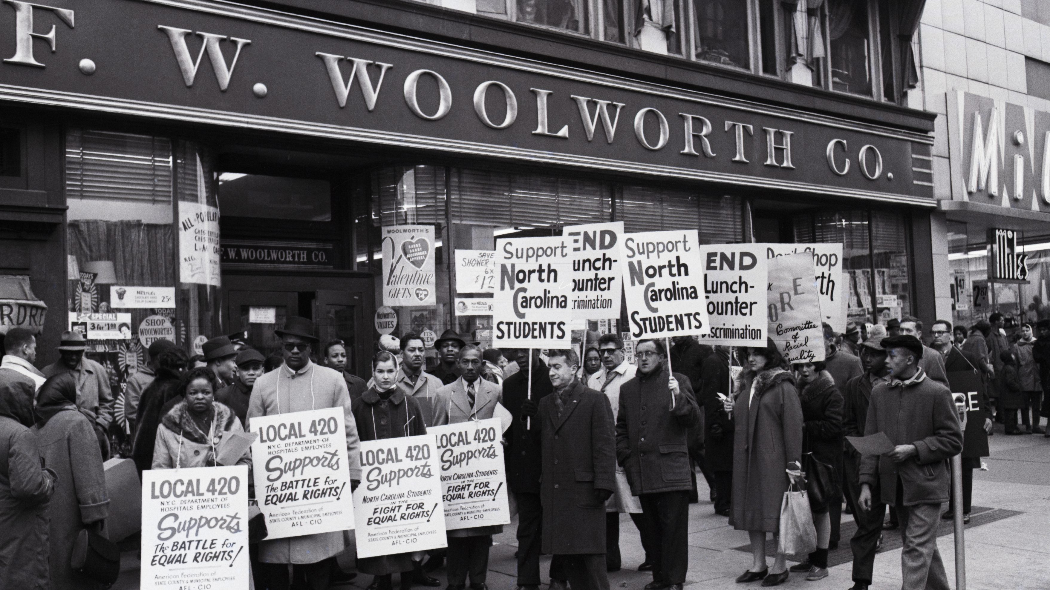 Protesters in Front Of Woolworth in Harlem