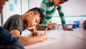Boys Enjoying School Work Together