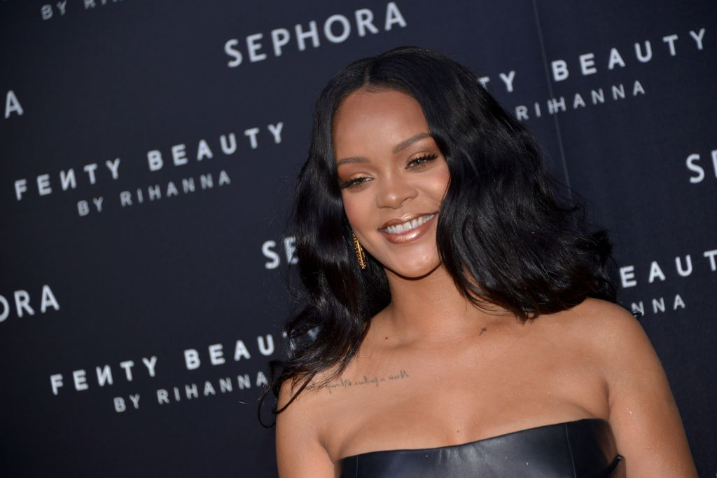 Rihanna attends the launch of her makeup line Fenty Beauty