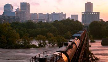 Sunrise, Railway into Richmond, Virginia, America
