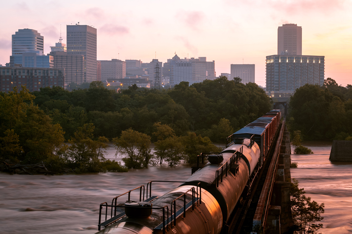 Sunrise, Railway into Richmond, Virginia, America