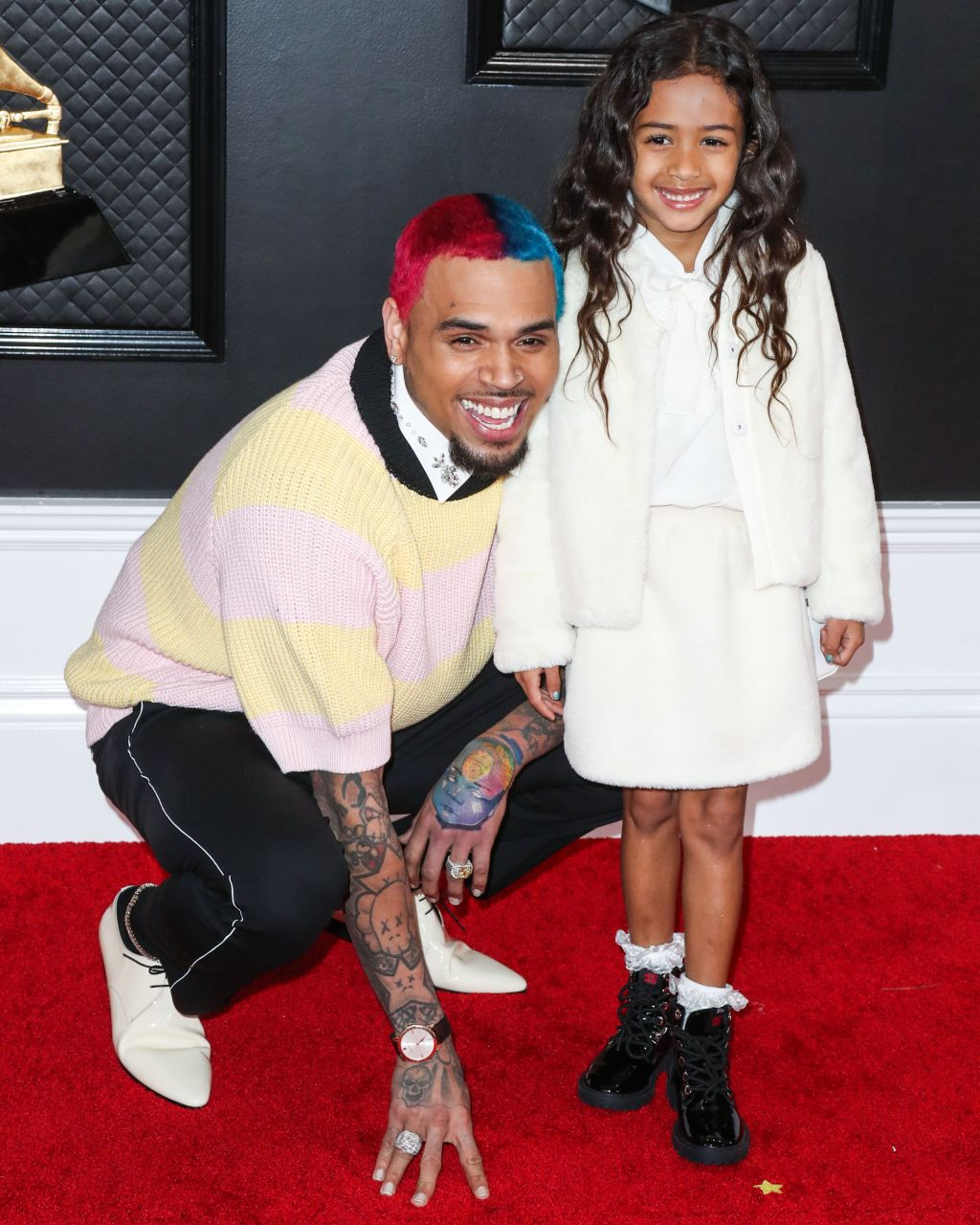 Singer Chris Brown and daughter Royalty Brown arrive at the 62nd Annual GRAMMY Awards held at Staples Center on January 26, 2020 in Los Angeles, California, United States.